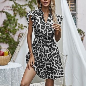 Boho Leopard Butterfly Sleeve Grey Mini Dress